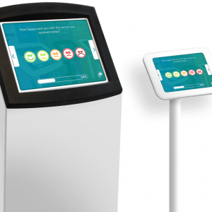 A large and small kiosk showing surveys